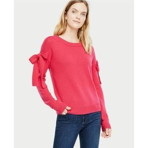 Ann Taylor pink sweater with bow sleeves